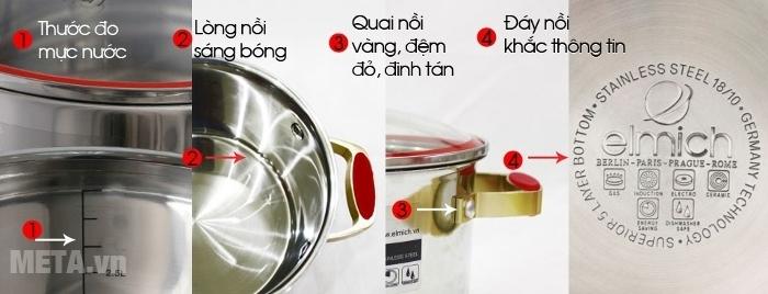 Xoong inox 304 Red Velvet 20cm 2355268 dễ vệ sinh chùi rửa.