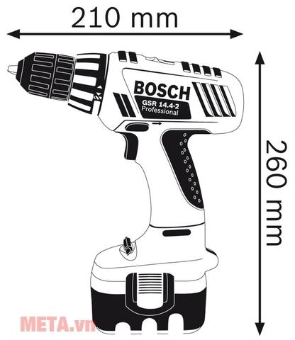 hoan vặn vít dùng pin Bosch GSR 14,4-2 có kích thước nhỏ gọn, dễ dàng mang theo.