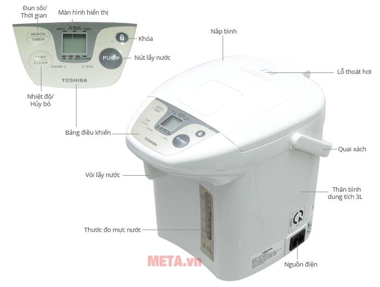 Cấu tạo của bình thủy điện Toshiba PLK-30FL(WT)VN