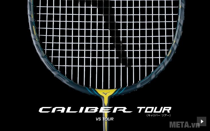 Vợt cầu lông Mizuno Caliber VS Tour với thiết kế khung vợt chữ V.