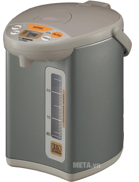 Bình thủy điện Zojirushi CD-WBQ30 3 lít có chức năng khóa an toàn tự động khóa vòi nước