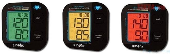 Máy đo huyết áp bắp tay Kinetik BPM1KTL với chế độ cảnh báo 3 màu khác biệt.