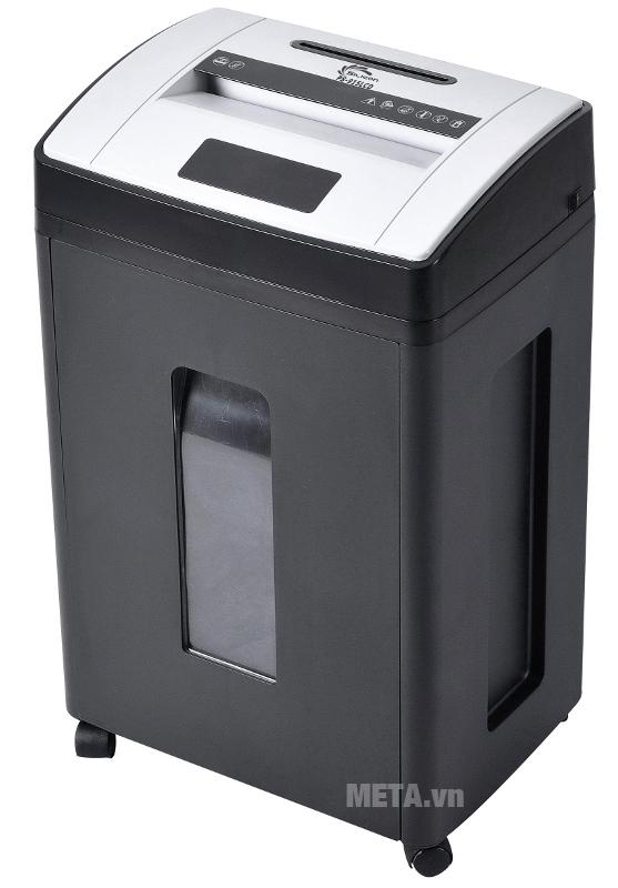 Máy hủy tài liệu Silicon PS-915LCD có thùng chứa giấy vụn lớn.