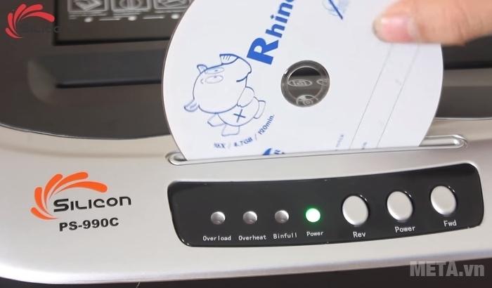 Máy hủy tài liệu Silicon PS-990C có khe hủy đĩa CD