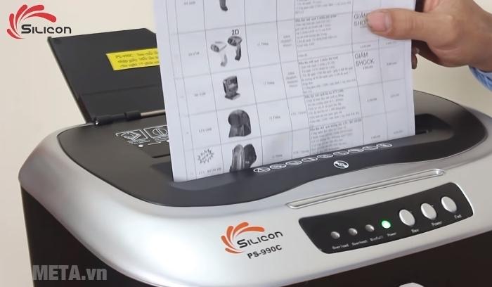 Máy hủy tài liệu Silicon PS-990C hủy giấy A4