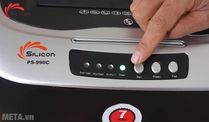 Máy hủy tài liệu Silicon PS-990C có đèn báo khi hoạt động