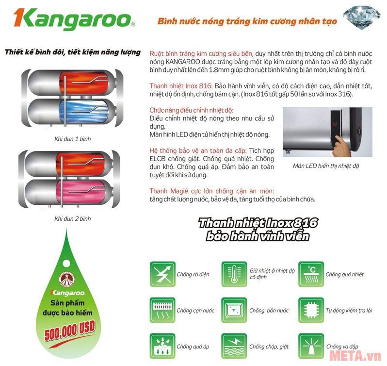 Bình nước nóng Kangaroo với nhiều ưu điểm vượt trội.