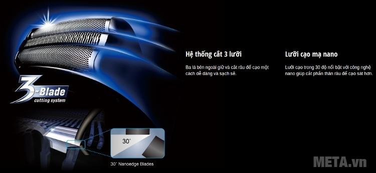 Máy cạo râu Panasonic ES-ST25 có lưỡi cạo mạ nano.
