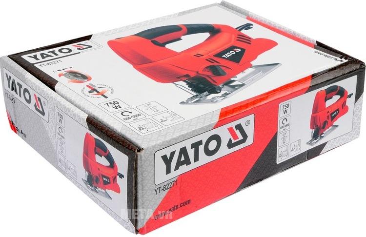 Máy cưa lọng 750W Yato YT-82271 với hộp đựng sang trọng.