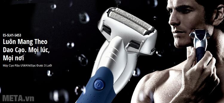 Máy cạo râu Panasonic ES-SL41 thiết kế 3 lưỡi, sử dụng pin sạc tiện dụng.