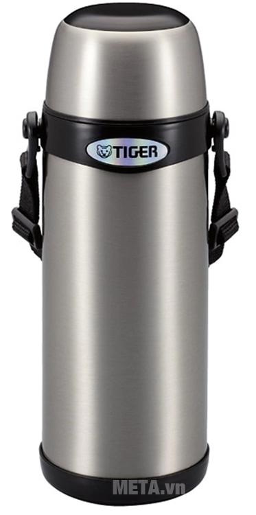 Bình giữ nhiệt lưỡng tính Tiger MBI-A100 màu inox viền đen.
