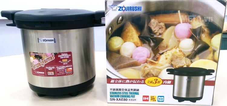 Nồi ủ Zojirushi SN-XAE80-XA với vẻ ngoài sang trọng.