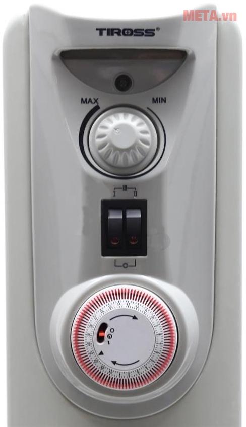 Máy sưởi dầu Tiross 9 thanh TS-925 với thiết kế hệ thống điều khiển.