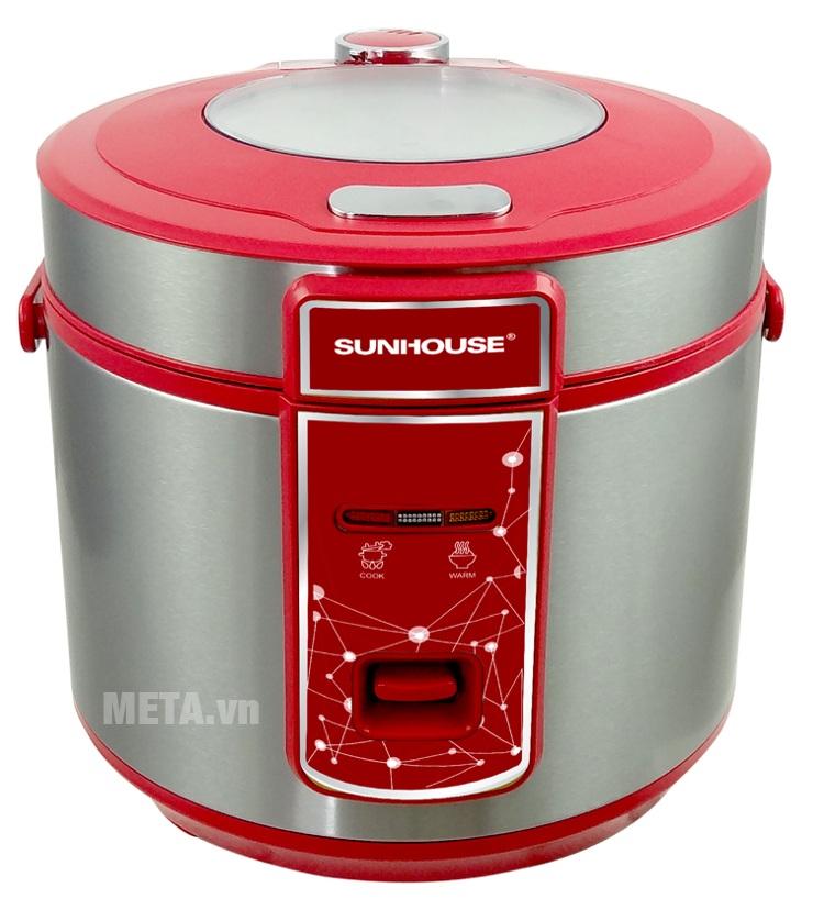 Nồi cơm điện Sunhouse SHD8618 có màu đỏ nổi bật và sang trọng.