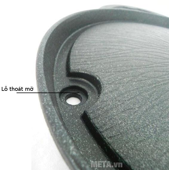 Chảo nướng chống dính Kova tròn HGR có khe thoát mỡ thông minh.