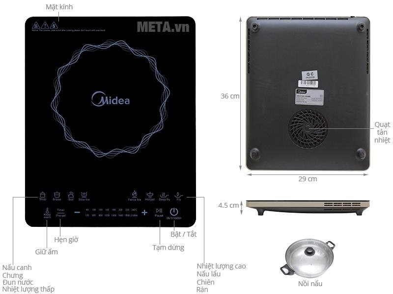 Cấu tạo của bếp từ cảm ứng Midea MI-T2114DC