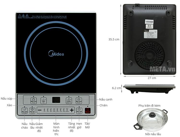 Cấu tạo của bếp từ Midea MI-B2015DE