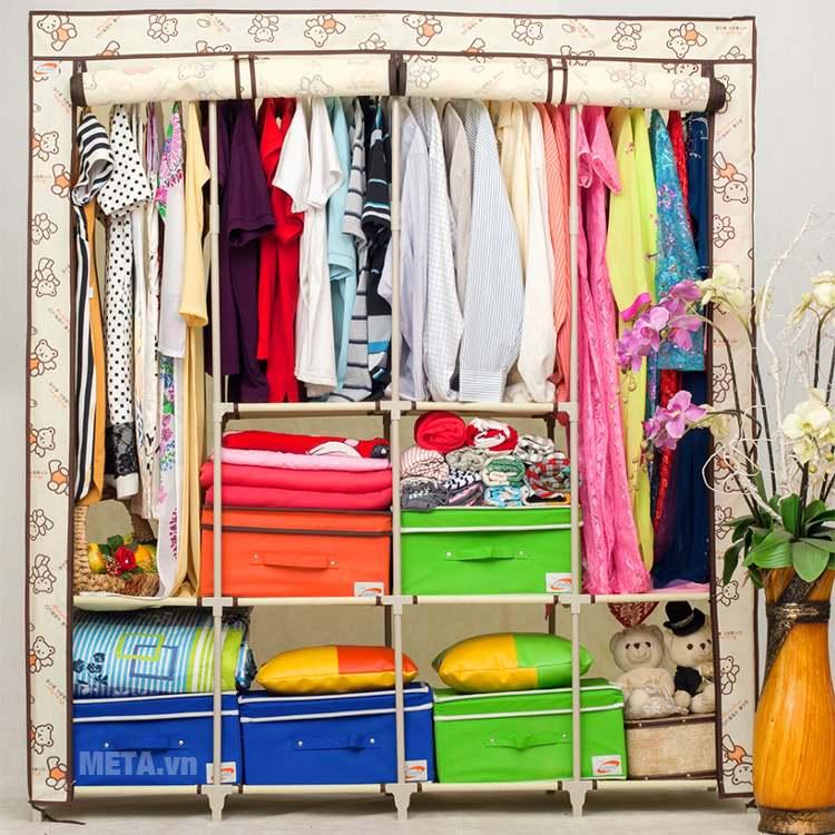 Tủ vải đôi Thanh Long TVAI15 với ngăn đựng đa dạng, giúp bạn đựng được nhiều đồ đạc.