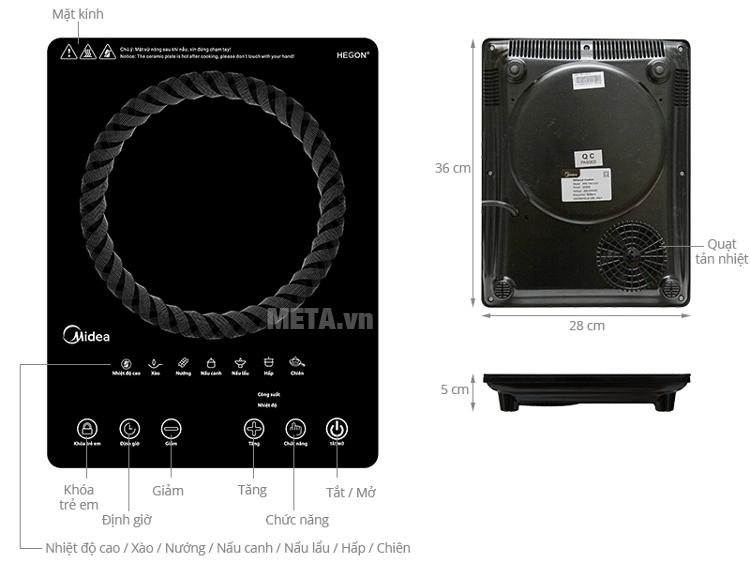 Cấu tạo của bếp hồng ngoại Midea MIR-T2015DC