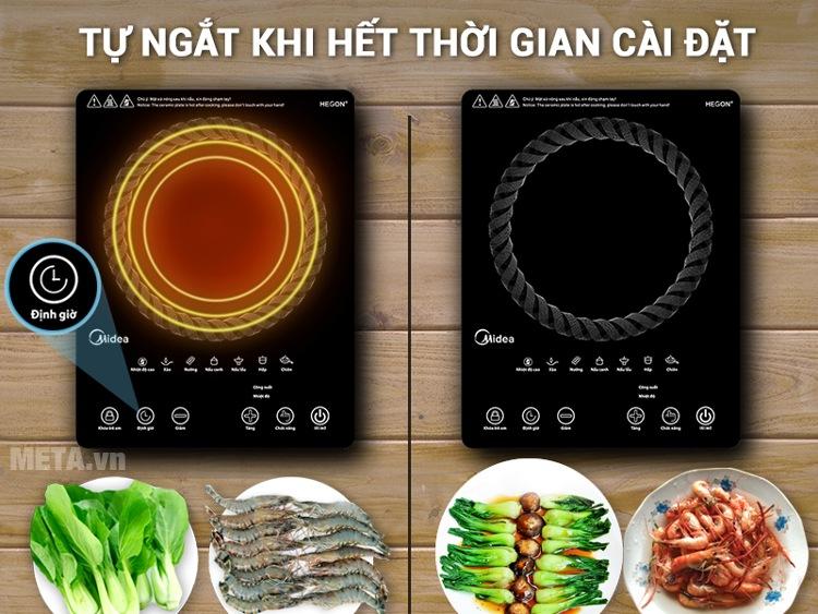 Bếp hồng ngoại Midea MIR-T2015DC có chức năng hẹn giờ nấu.