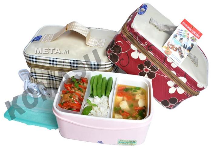 Hộp cơm hâm nóng Komasu KT48T có 3 ngăn đựng thức ăn