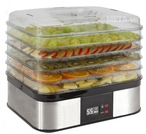 Máy sấy khô hoa quả, thực phẩm Makxim MKX-DH-2015 dễ dàng xếp chồng 5 khay sấy lên nhau