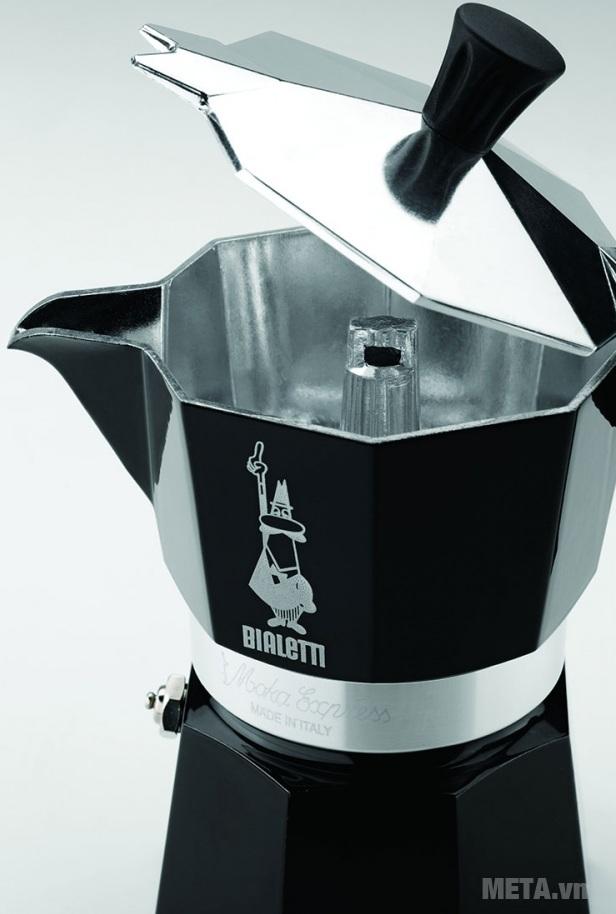 Ấm pha cà phê Bialetti Moka Express 6TZ Black BCM-3753 với thiết kế bên trong.