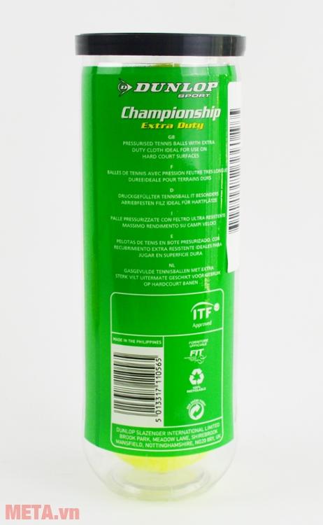 Bóng tennis Dunlop Championship Extra Duty đạt tiêu chuẩn về màu sắc, kích thước và độ nảy.