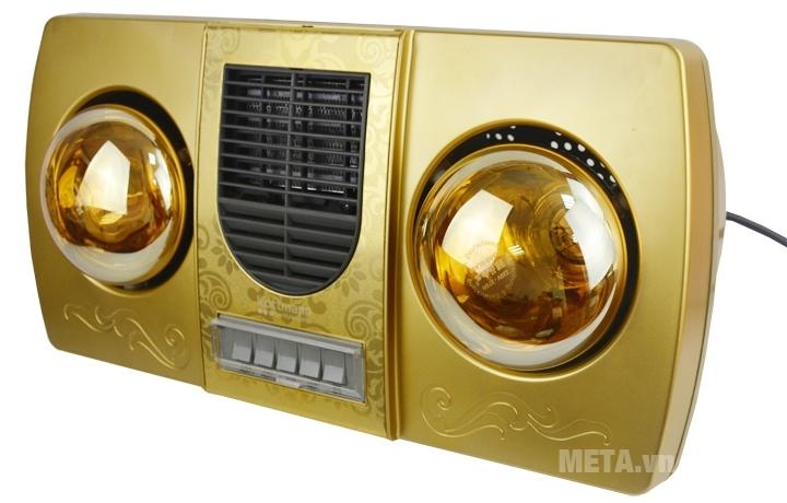 Đèn sưởi nhà tắm 2 bóng Kottmann K2B-HW-G có màu vàng sang trọng.
