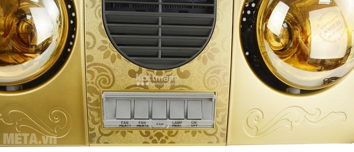 Đèn sưởi nhà tắm 2 bóng Kottmann K2B-HW-G thiết kế công tác riêng biệt.