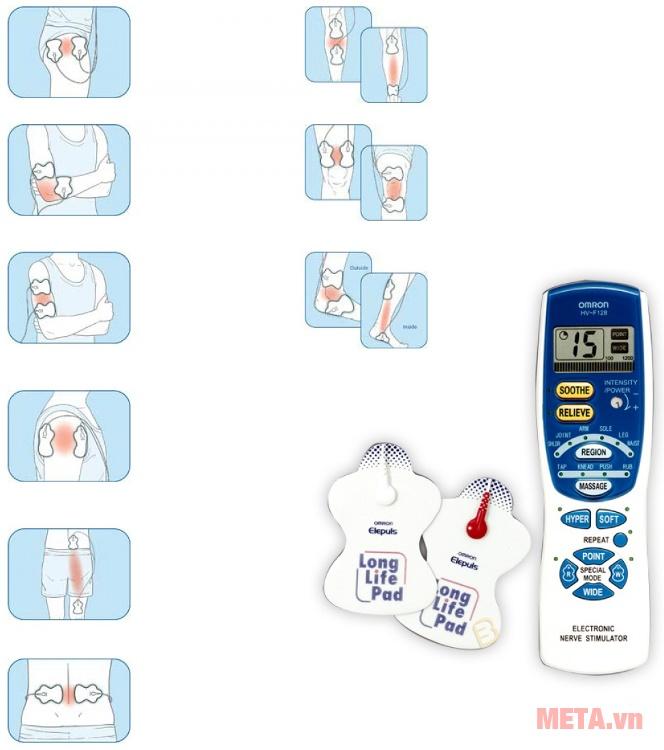 Máy massage xung điện HV-F128 sử dụng được trên nhiều bộ phận trên cơ thể.
