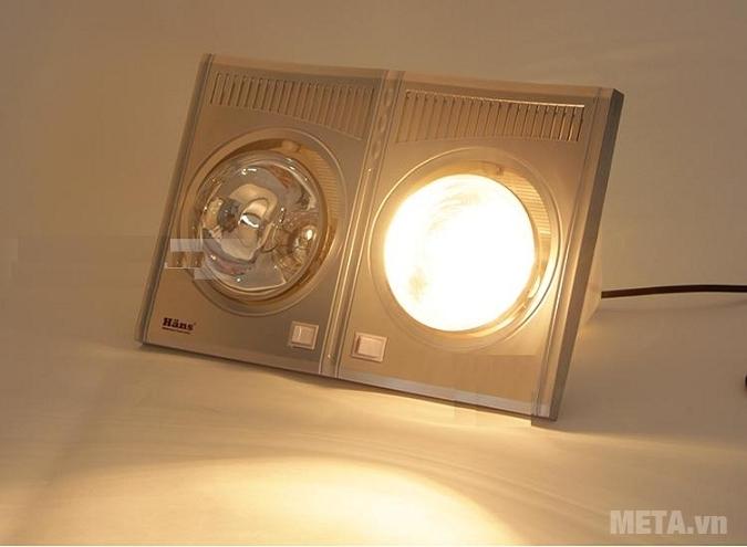 Đèn sưởi nhà tắm Hans có thể bật 1 bóng.