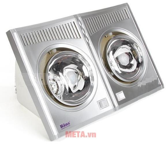 Đèn sưởi nhà tắm - Đèn sưởi hồng ngoại Hans 2 bóng có khả năng sưởi ấm tức thì sau 3s khởi động.