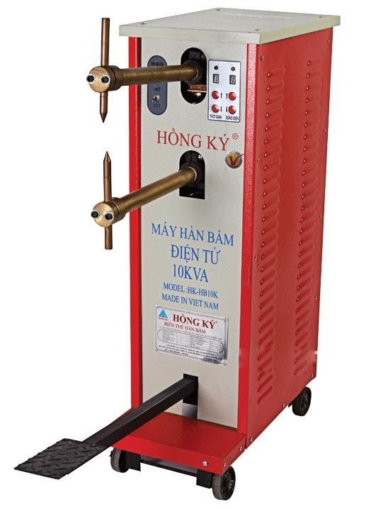 Máy hàn bấm Hồng Ký HK-HB10KB có 4 bánh xe giúp di chuyển dễ dàng