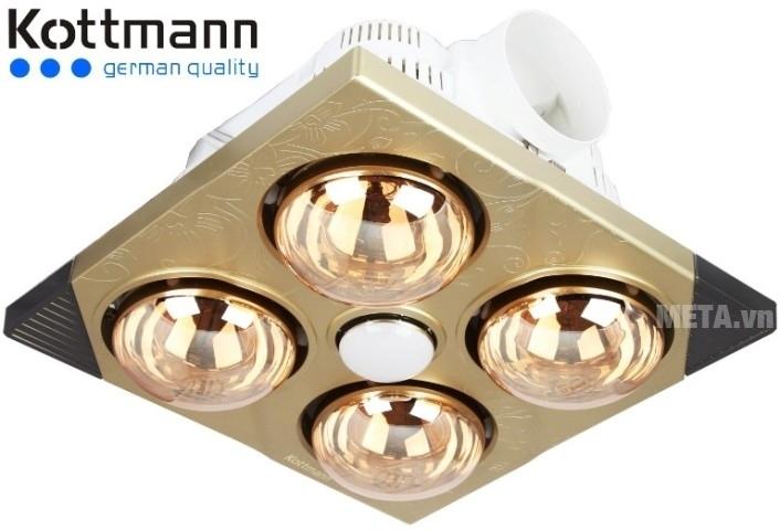Đèn sưởi nhà tắm Kottmann âm tường K4BT có 4 bóng sưởi và 1 bóng chiếu sáng.