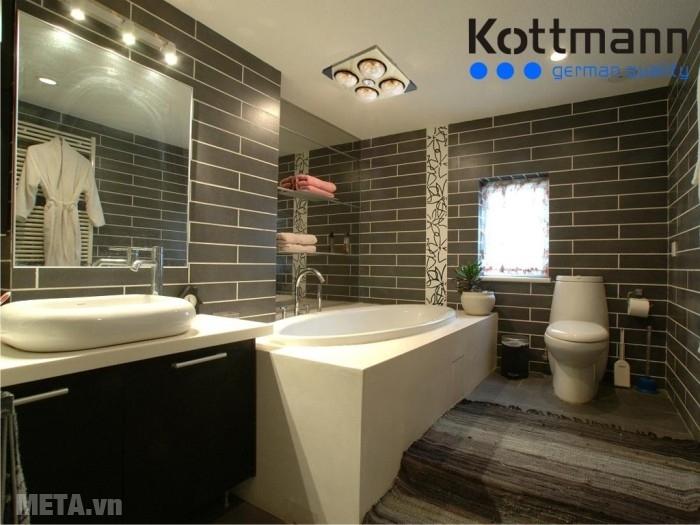 Đèn sưởi nhà tắm Kottmann 4 bóng âm tường K4BT lắp đặt dễ dàng.