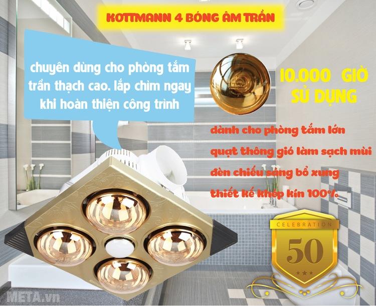Đèn sưởi nhà tắm Kottmann 4 bóng âm tường K4BT có tuổi thọ bóng lên tới 10.000 giờ sử dụng.