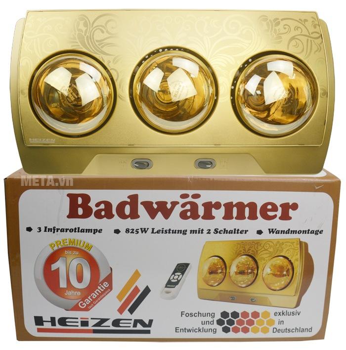 Đèn sưởi nhà tắm 3 bóng có điều khiển Heizen HE3BR có hộp đựng bảo quản.