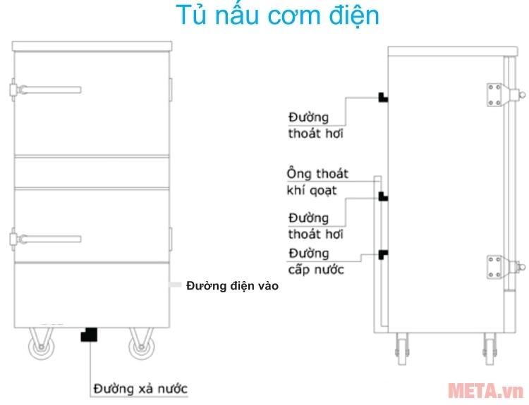 Cấu tạo của tủ nấu cơm công nghiệp 6 khay dùng điện TCD-6