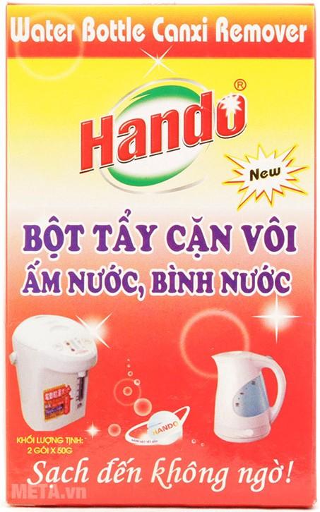 Bao bì của sản phẩm bột tẩy cặn canxi Hando có thể thay đổi tùy vào từng lô hàng nhập về.