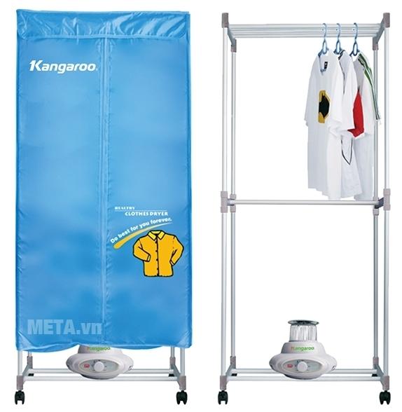 Máy sấy quần áo Kangaroo KG 332 có khung máy bên trong rất chắc chắn và cứng cáp.