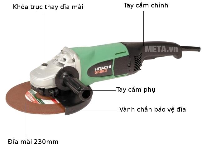Cấu tạo của máy mài góc 2300W Hitachi G23SC3