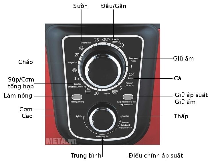 Nồi áp suất điện đa năng Sunhouse SHD1659 có bảng điều khiển tiếng Anh/Việt.