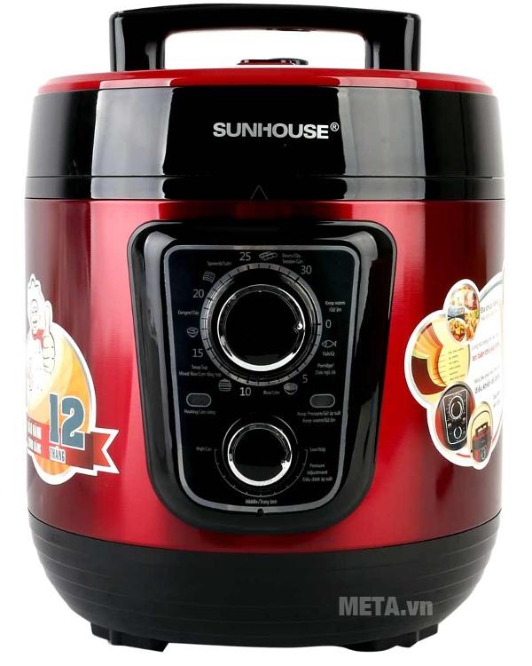 Nồi áp suất điện đa năng Sunhouse SHD1668 màu đỏ