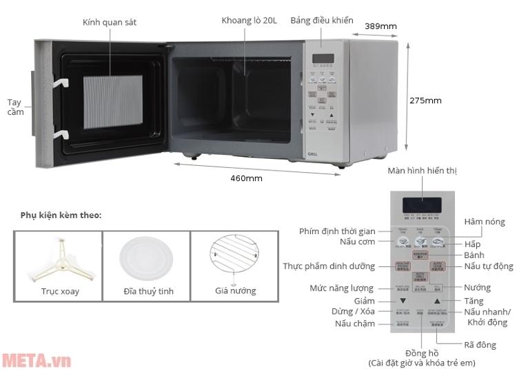 Cấu tạo của lò vi sóng nướng điện tử Sharp có nướng R-678VN(W)