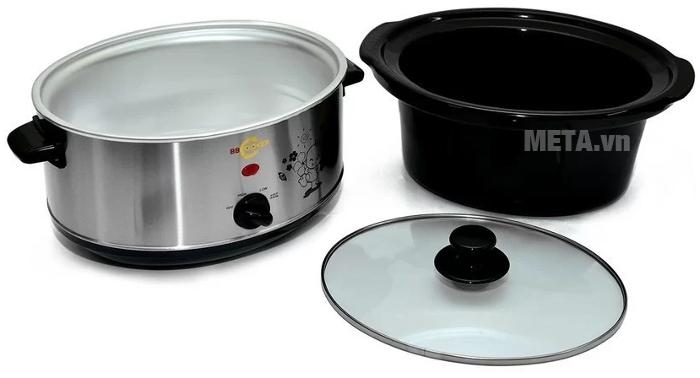 Nồi nấu cháo đa năng Hàn Quốc BBCooker có thể tháo rời nồi trong nên vệ sinh dễ dàng.