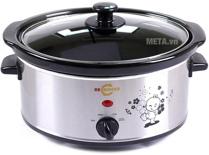Nồi nấu cháo đa năng Hàn Quốc BBCooker sử dụng núm vặn để điều chỉnh chế độ nấu.