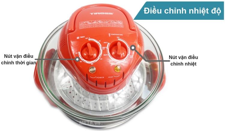 Thiết kế nút vặn điều chỉnh nhiệt độ trên nắp lò giúp người dùng dễ quan sát.