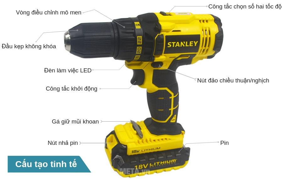Cấu tạo máy khoan pin Stanley SCD 20C2 12mm - 18V