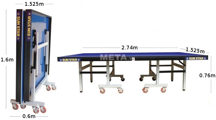 Kích thước bàn bóng bàn Sunstar 2 sao khi gập gọn và khi sử dụng.